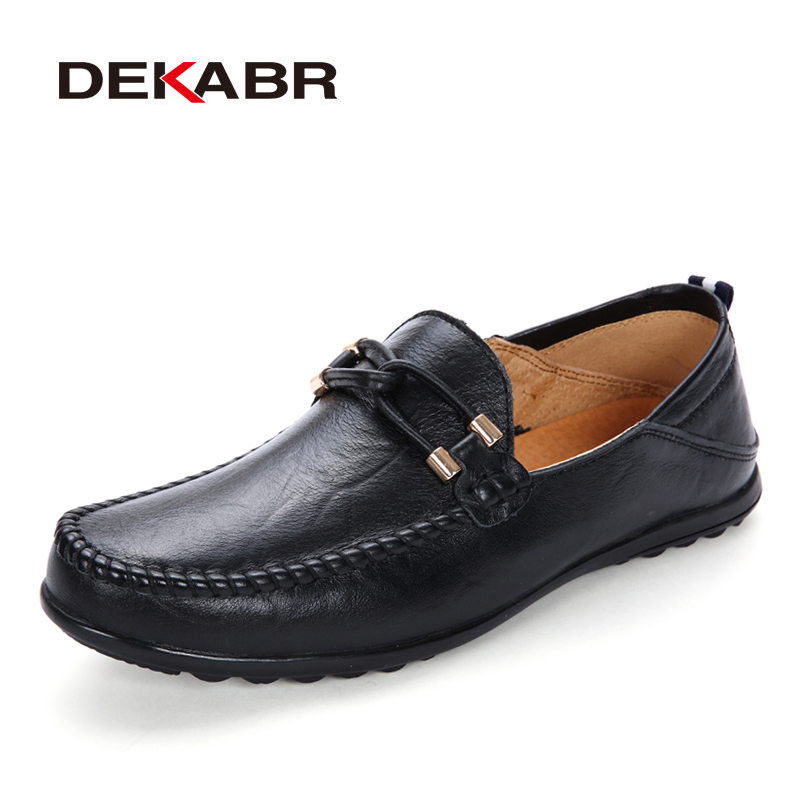 DEKABR Men's Casual Flats Pu Leather  Fashion Loafers For Men Comfortable Business Lazy Shoes Slip On Men Shoes Plus size 37~47