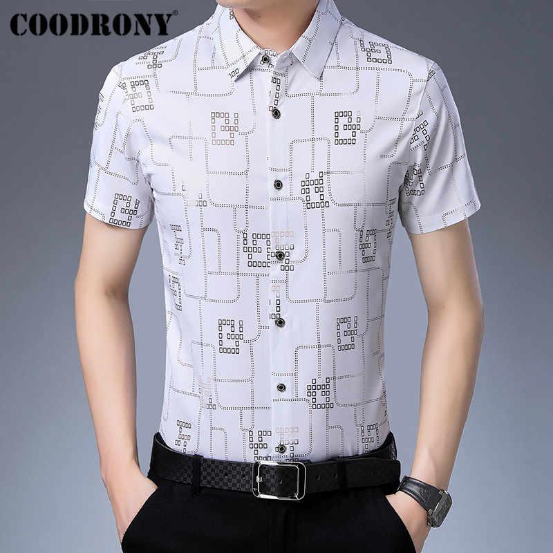 COODRONY деловые рубашки в повседневном стиле Slim Fit Camisa Masculina 2019 летом прохладно короткий рукав Для мужчин модная мужская клетчатая рубашка S96026
