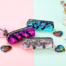 New Reversible Sequin Pencil Case For Girls Hairball Bag Kawaii School Supplies Cute Box Pen Pouch Stationery