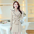 The new 2016 Spring and Autumn women ladies treach coat elegant slim long coat with double-breasted casacos tide CT170