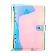 А5 А6 ПВХ свободная бумажная записная книжка 90 листов прозрачная перламутровая блестящая Обложка 6 отверстий жемчужного цвета