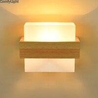 Luz Da Parede De Vidro De Madeira nórdica Lâmpada de Parede moderna Arandelas de luz Corredor Quarto corredor banheiro lâmpada do banheiro luzes de leitura de cabeceira|Luminárias de parede|   -