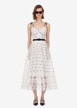 Women sexy lace slip dress New arrival summer polka dot high-waist belt dress A402