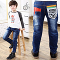 2017 Spring Boys Letter Jeans Pants Children JeansLight Wash Boys Jeans for Boy Regular Elastic Waist Kid Children's Jeans P263