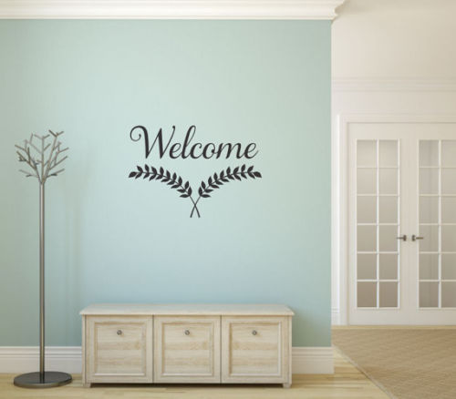 Living Room Decal WELCOME Leaves Words Lettering Vinyl Wall Stickers Bedroom Home Decor Quote For Office Sticker Art Mural LA109