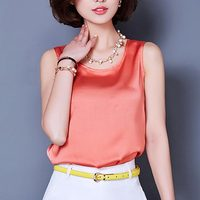 Summer Style Sleeveless Tank Top Solid Casual Chiffon Shirts Women Tops 2016 Sexy Vest Bright Silk