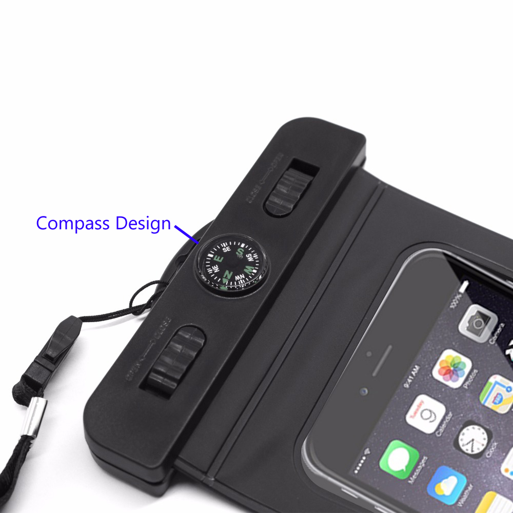 Waterproof Case, Universal Dry Bag Pouch with Compass Lanyard,WaterProof, Dustproof, Snow proof Dry Bag for Any Cell Phone