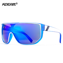 KDEAM New UV400 Men Sunglasses One-piece Steampunk Goggles Impact-resistant Lens Big Size Sun Glasses With Hard Case KD100