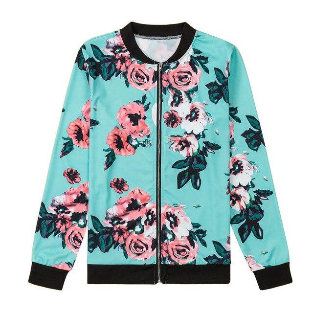 Floral Printed Women Jacket Long Sleeve Casual Zipper Jacket Coats 2017 Autumn Zipper Casual Jackets Outwear Women Basic Coats 5