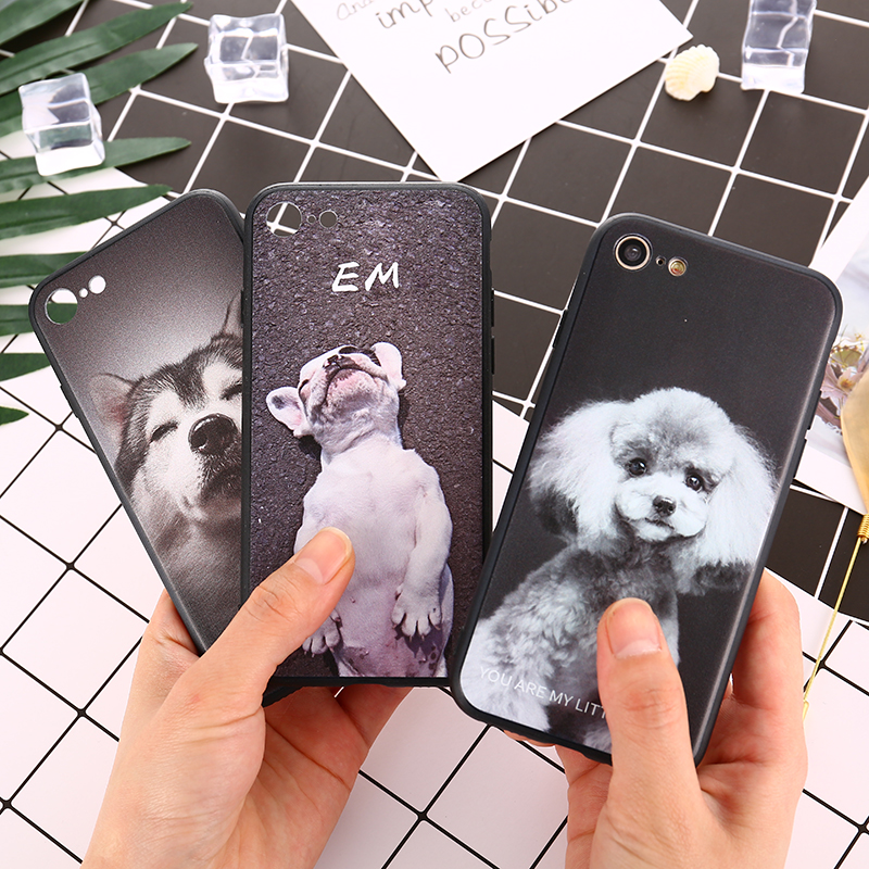 Cute Cartoon Animal Dog BULLDOG Phone Case For iPhone X 8 7 7Plus 6 6s Crystal Clear Soft TPU Gel Protective Cover Coque