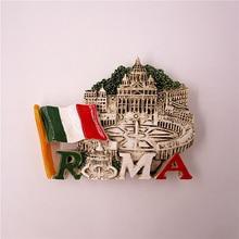 HandPainted 3D Resin Fridge Magnet Souvenir Decor Italy Rome Sticker Countries Basilica di San Pietro Church Tourism Note Poster