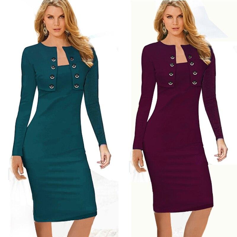 18e27862dc6 Automne hiver femmes décontracté slim crayon robes élégant à manches  longues bureau dames porter au travail EB10 dans Robes de Mode Femme et  Accessoires sur ...