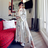 2020 New Embroidery Sleeping Robe Female Autumn Bathrobes Korean Version Woman Long Sleepwear Kimono Printed Nightdress LMR17