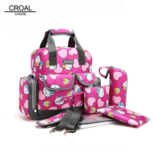 5PCS Suits Cute Hello Kitty Baby Diaper Bag Brand Waterproof Women Mummy Maternity Nappy Bags Tote Stroller Baby Changing Bag