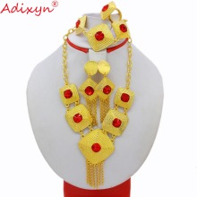 Adixyn New Necklace/Earrings/Pendant/Ring/Bnagle Gold Color Rhinestone for Women Engagement Gifts N12271