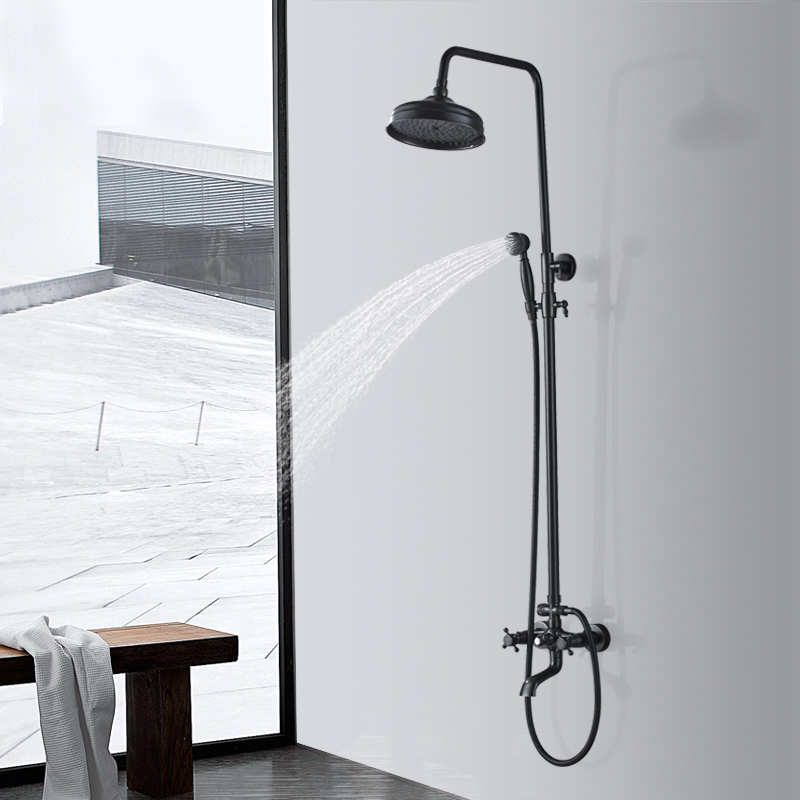 Uthyner 8 Rain Shower Faucet Bathroom Shower Faucet Set Wall Mounted Mixer With Hand Sprayer 3-Model Switch Hot & Cold Water