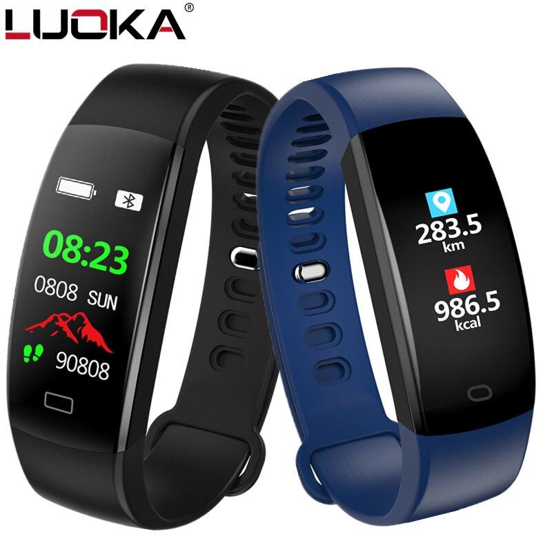 LUOKA pulsera inteligente de pantalla a Color de sangre presión rastreador de ejercicios Monitor del ritmo cardíaco de la banda inteligente deporte para Android IOS
