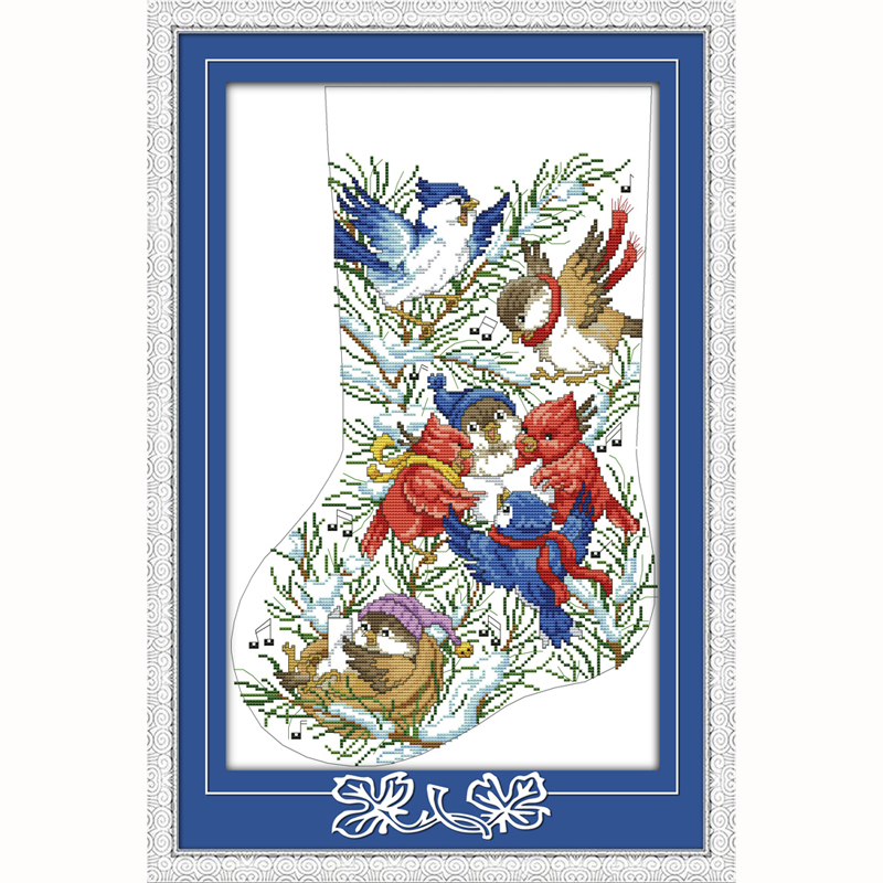 Kerstsok vogels gift kerstdag Geteld Borduurpakketten 14ct Borduurwerk Set Kinderkamer Decoratie Gift muur art nieuwe