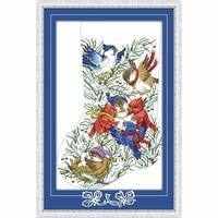 Presente do dia de natal da meia do natal de aves 14ct Contados Kits de Ponto de Cruz Bordados Set Crianças Decoração do Quarto Da arte da parede Presente novo