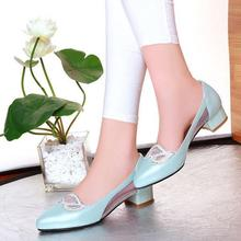 Beaded Rhinestone gauze single shoes thick  Low high heels wedding shoes woman sapatos femininos bridal shoes Summer pumps OX096