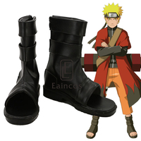NARUTO Uzumaki Naruto Cosplay Shoes Black Peep Toe Customized Size Boots