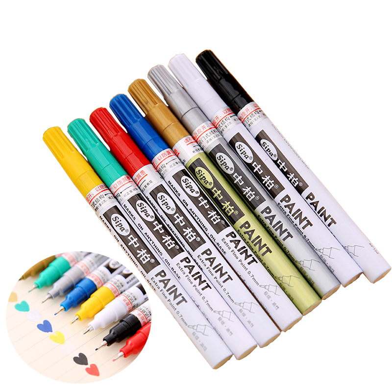 Sipa Oil-Based 8 Colors 0.7mm Neelde Pens Extra Fine Point Paint Marker Permanent Marker Pen DIY Art  Markers Graffiti Paint parker 88 maroon lacquer gt fine point fountain pen