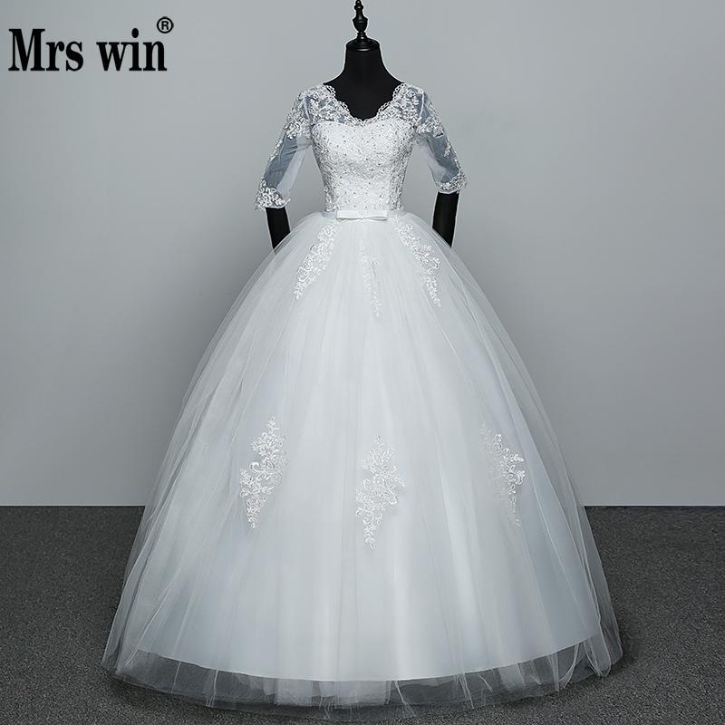 2018 Appliques Wedding Dresses Hot Sale Elegant Princess Adjust Lace Three Quarter Sleeve Bridal Gowns Vestidos De Noiva