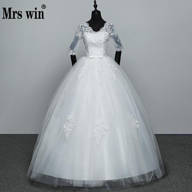 2018 אפליקציות שמלות כלה מכירה לוהטת אלגנטית נסיכת להתאים תחרה שלוש רובע שרוול שמלות כלה Vestidos דה Noiva