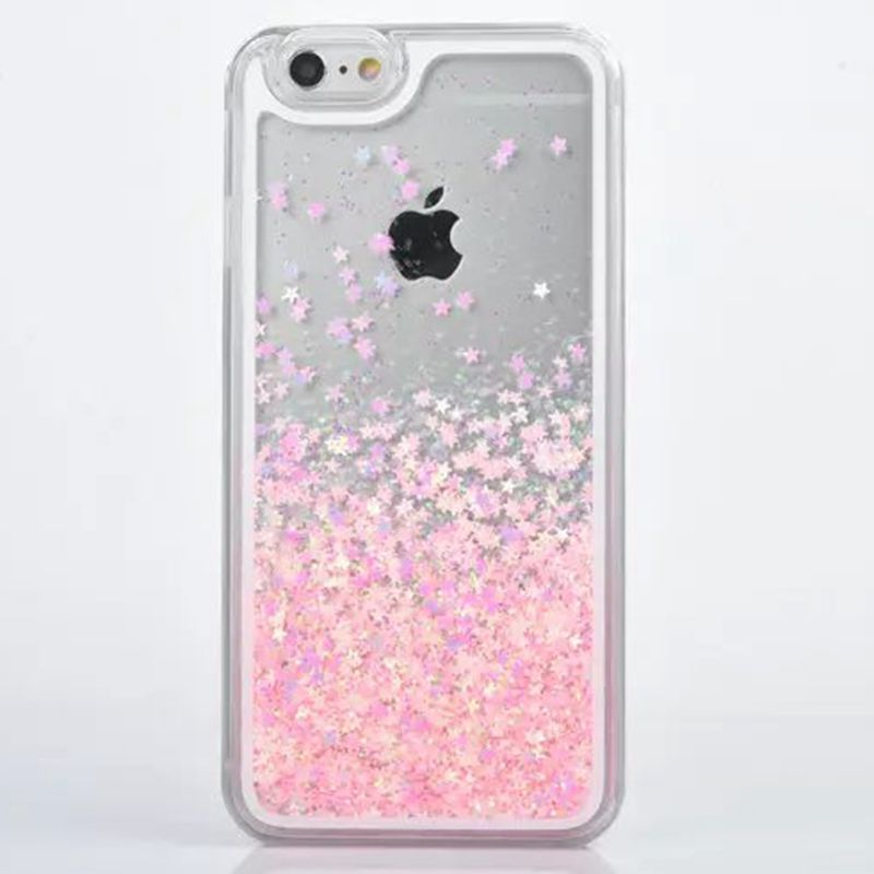 wholesale dealer 697fc c8663 US $4.84 |For IPhone 7 Case Transparent Hard PC Cover for iPhone 6 6S 7  Plus 5 5S SE Dynamic Liquid Glitter Sand 3D Stars Back Case Cover-in ...