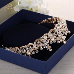 Image 3 - แฟชั่นเจ้าสาวคริสตัล Tiaras Crowns ทอง Headpieces Rhinestone อุปกรณ์เสริมผมงานแต่งงาน Evening เครื่องประดับผม