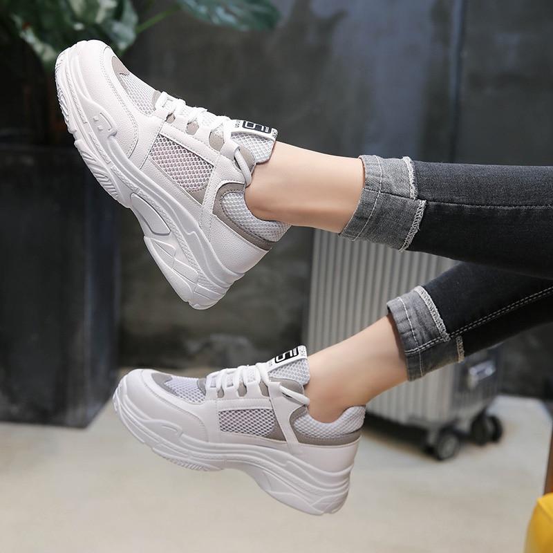 2018 חדש רשת אוויר לנשימה נשים נעלי מזדמנים נעלי תחרה עד שטוח מחוץ לגפר בלעדי עבה נוח