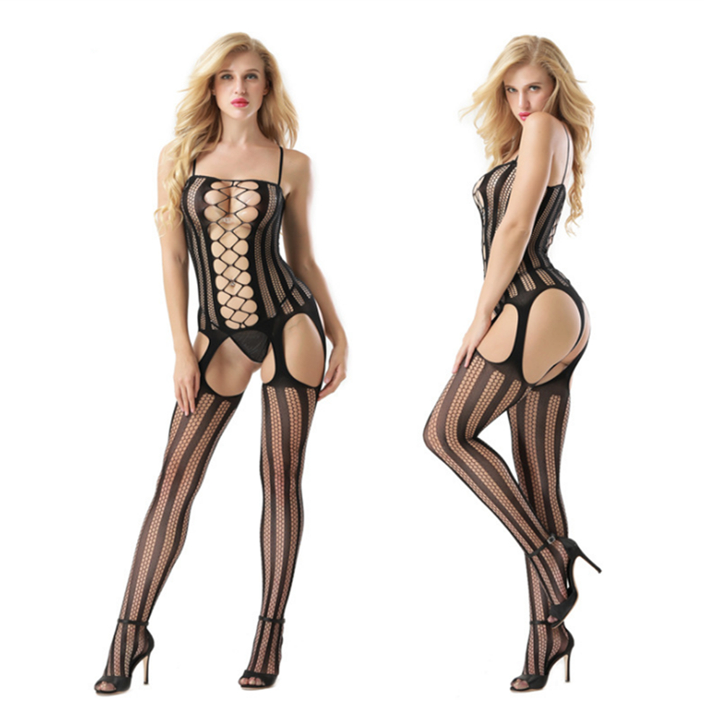 transparent Camisole Hollow out stripe Buttocks Conjoined net porno body sexy costumes catsuit bodystocking open crotch lingerie in Teddies Bodysuits from Novelty Special Use