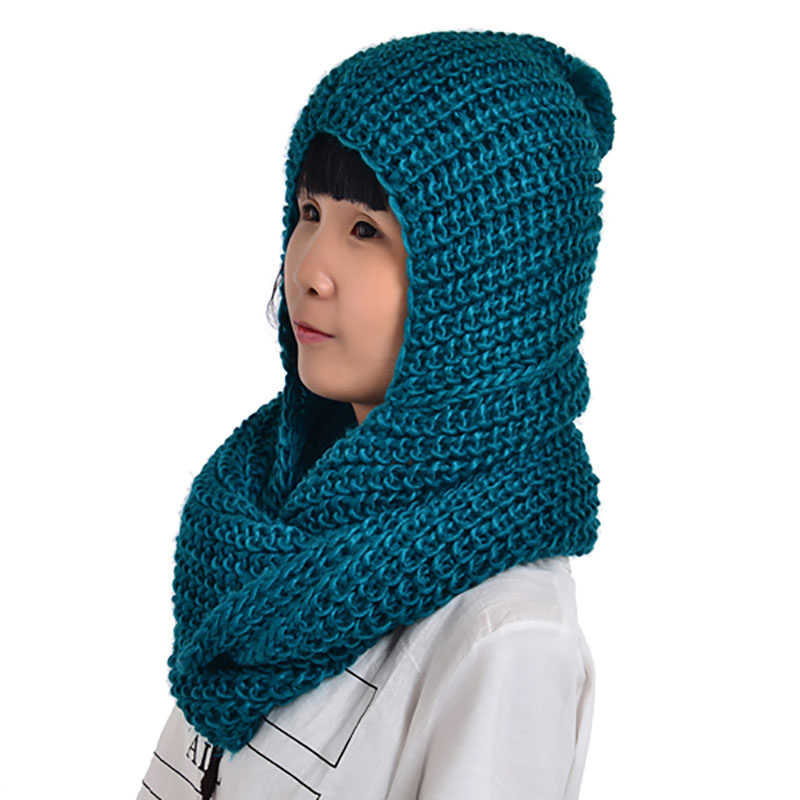 Winter Knit Scarf with Pom Poms for Women Girls Warm Cap Loop Scarf Knitted Circle Infinity Scarfs with Hoodie Scarf NL2164
