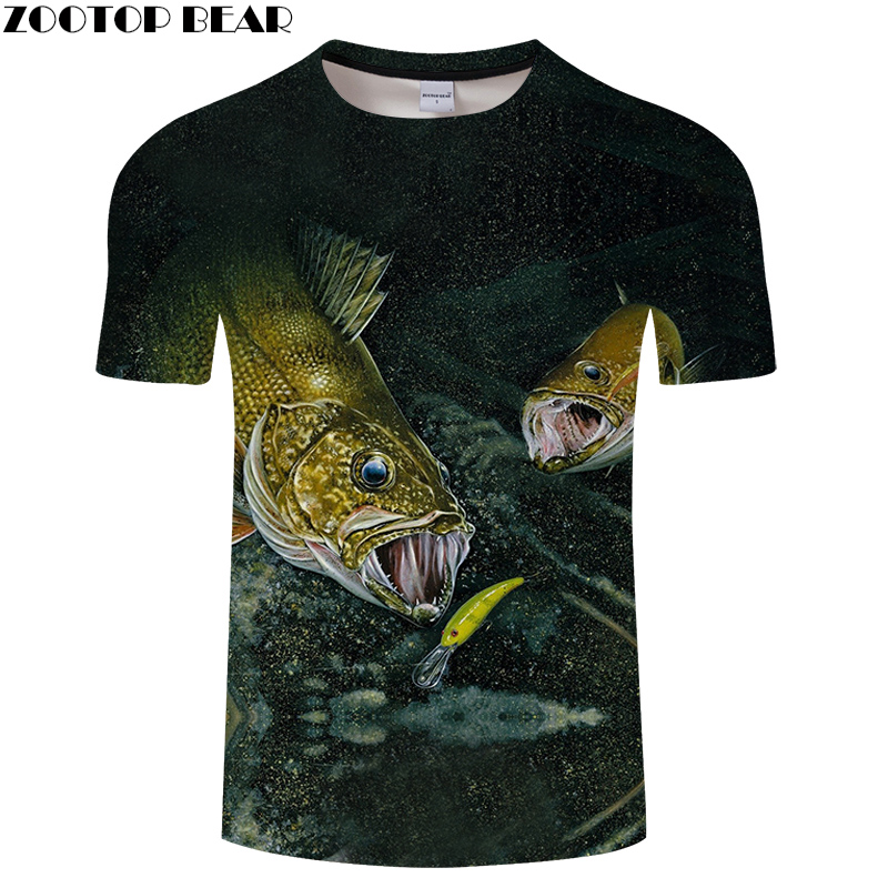 All-Fish 3D T-shirt Printed For 2018,With Summer Short Sleeves Men t shirt, Experience Undersea Amorous Feelings,Lover Fish Tee