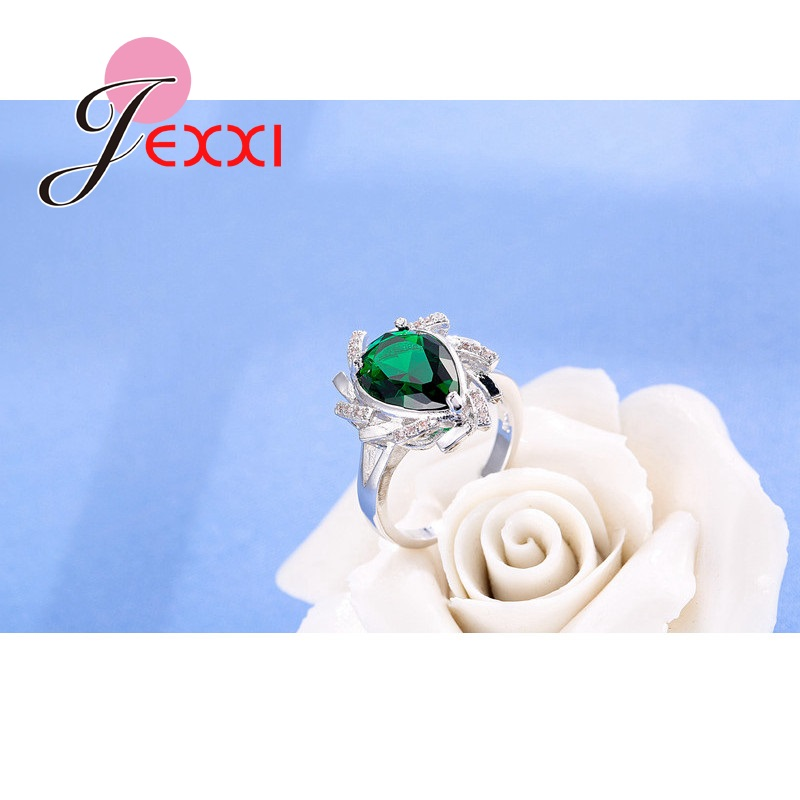 JEXXI Sterling Silver Rings Women Bridal Wedding Jewelry Fashion Water Drop CZ Anniversary Engagement Promise Rings
