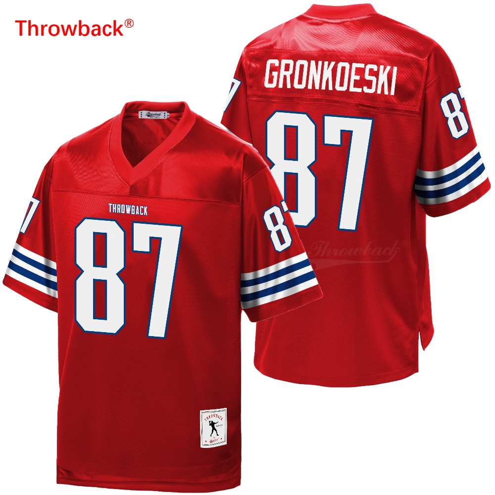 Throwback Jersey Men's New England American Football Jersey Gronkowski Jerseys Red Size S-XXXL Free Shipping Wholesale image