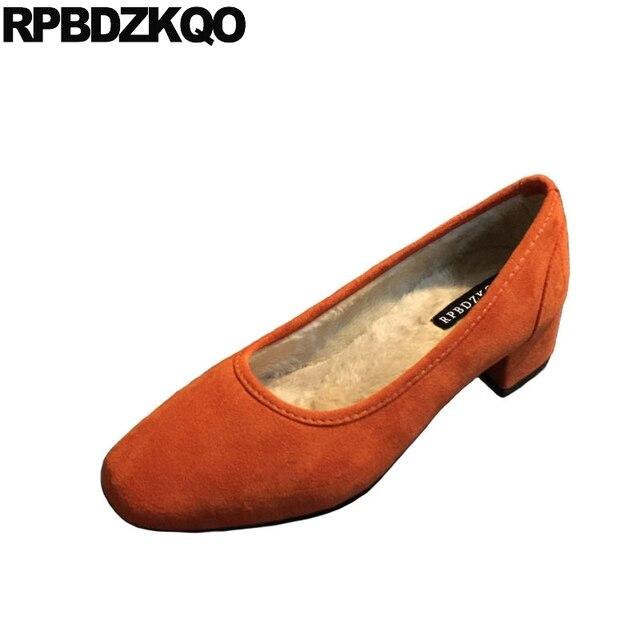 Vintage Yellow Suede Square Toe Thick Pink Size 4 34 Medium Heels Office Fur Black Orange