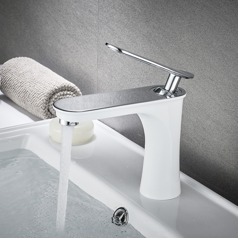 Basin Faucet Water Tap Bathroom Faucet Brass Made White Chrome Finish Single Handle hot cold Water Sink Tap Mixer flg luxury basin faucet bathroom sink mixer golden finish cold and hot brass tap water faucet single handle basin mixer tap m088