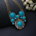 Statement Bronze Euro America Nightclub Fashion Gem Sun Flower Power Necklace For Women N523