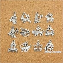 120 pcs Vintage Charms Zodiac twelve constellations sign Pendant Antique silver Fit Bracelets Necklace DIY Metal Jewelry Making