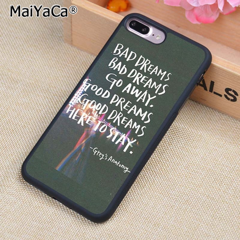 MaiYaCa Greys Anatomy Quotes Style Phone Case Cover For iPhone 4 5 5s SE 6 6s 7 8 plus 10 X Samsung Galaxy S6 S7 S8 edge note 8