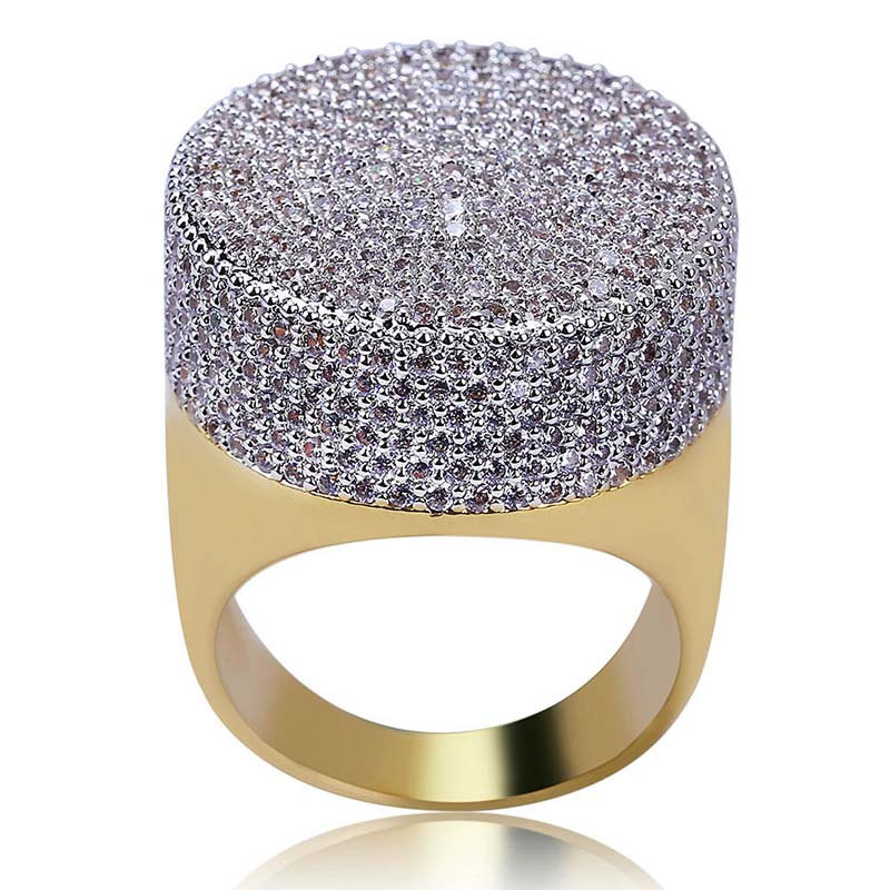 Custom Men's Ring Copper Band Micro Paved Cubic Zirconia Gold color Plated Hip Hop jewelry Drop Shipping APK2077