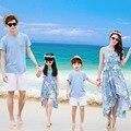 Combinando Roupas da família Pai Mãe Filho Filha 2016 Verão Sólidos Vestidos Olhar Família Bohemia Chiffon Vestido de Praia Roupas Set