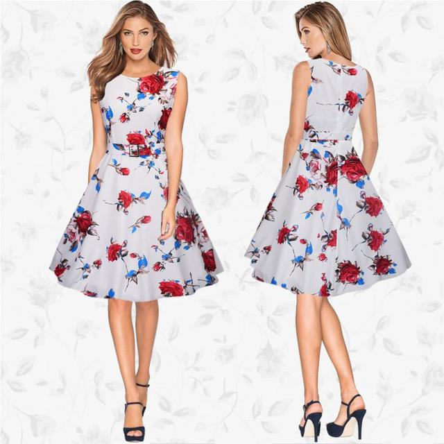 1832108121f74 US $11.66 |Sweet Style Summer Dress Women Girls Sexy Sleeveless Round Neck  Slim Flower Printed Dress Swing Ball Gown Ladies Dress-in Dresses from ...