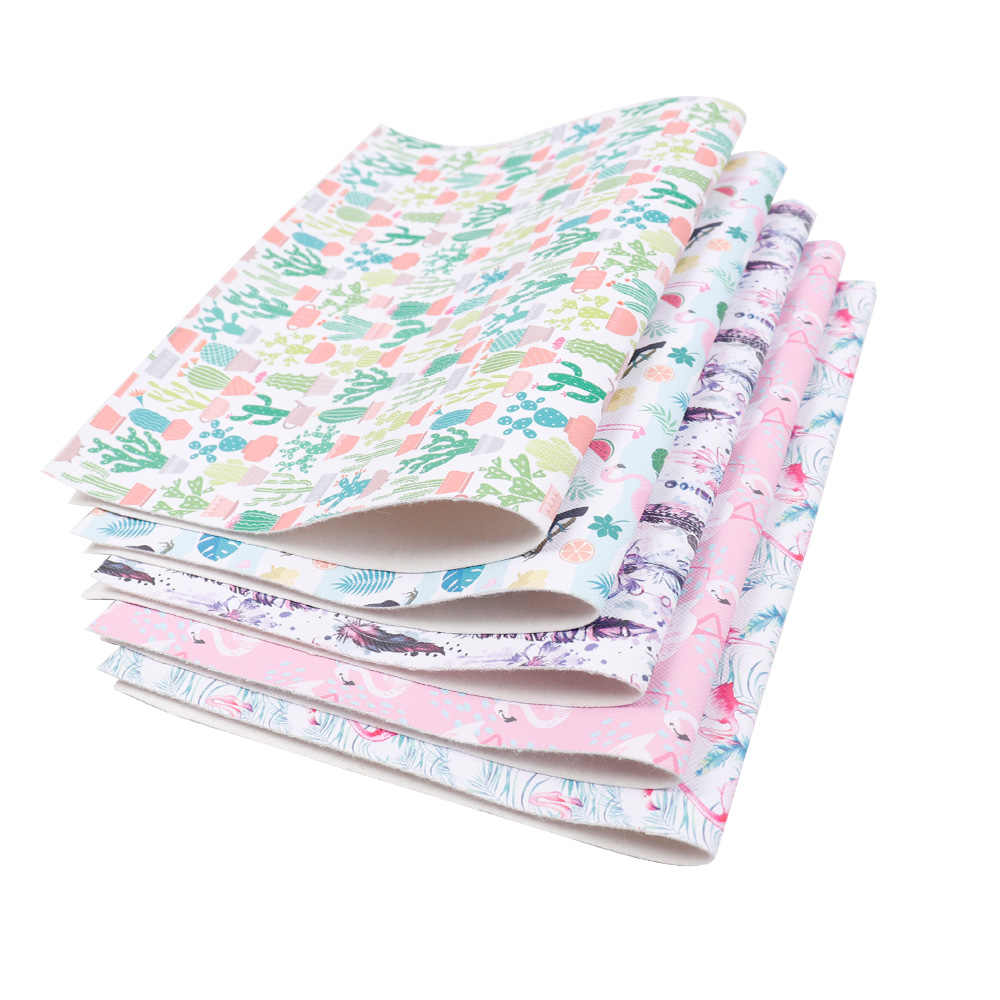 22 Cm * 30 Cm Vải Da Tổng Hợp Hạc Xương Rồng In Hình PU Giả Chất Liệu Vải Tự Làm Chất Liệu Túi Giày Handmade hàng Thủ Công Trang Trí