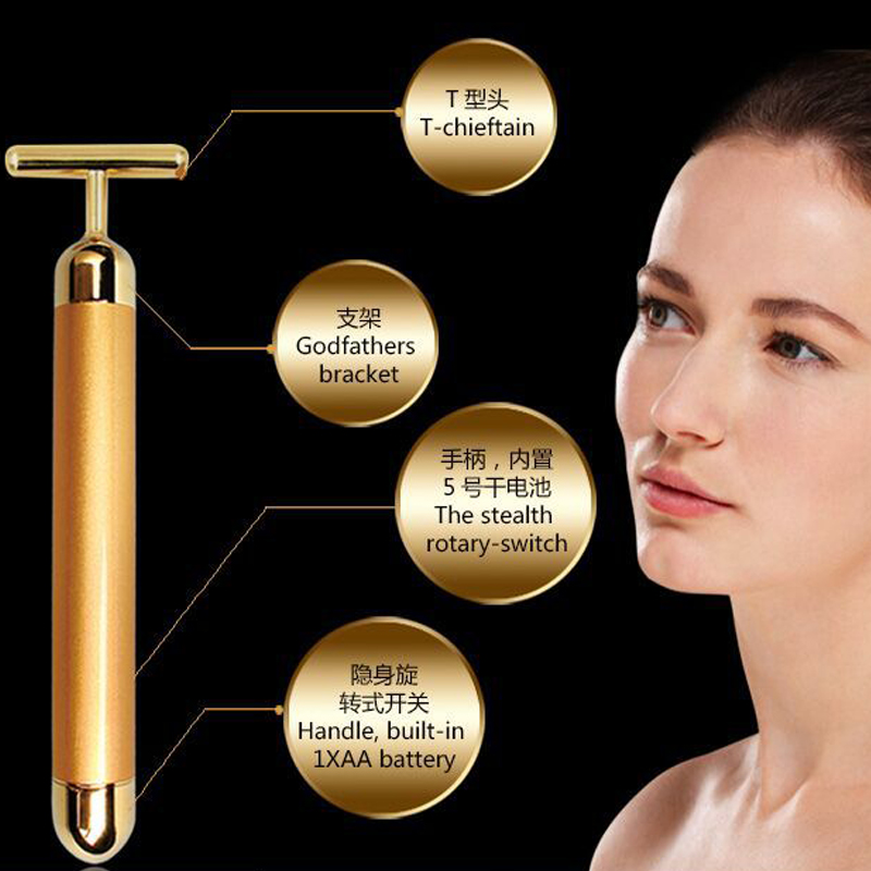 24K Waterproof Slimming Electric Beauty Bar Golden Face Massage - Penjagaan kesihatan - Foto 3