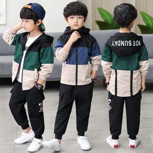 Image 3 - 2019 yeni çocuk Boys giyim seti çocuk Tops Hoodie ceketler + pantolon seti 4 6 8 10 12 14 15 yıl çocuk giyim erkek rahat takım elbise