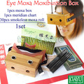 Good quality! eyes moxa box moxibustion massager bamboo material (30pcs smokeless moxa roll+1pcs meridian chart) 4set/lot