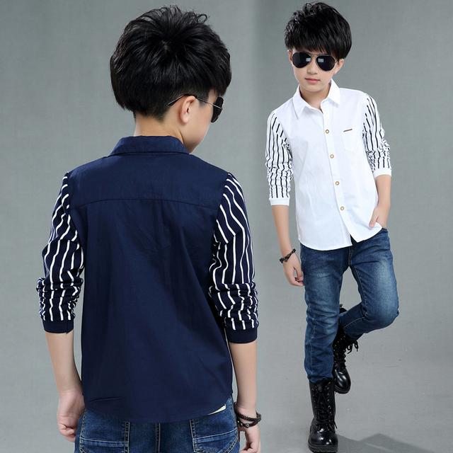 2018 autumn children's clothes boys shirts stripe long sleeve turn-down collar boy shirts for boys big kids causal shirts tops