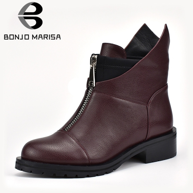 0212d389851 BONJOMARISA New Fashion Solid Wide Med Heels Round Toe Shoes Woman Casual  women s Winter Warm Ankle Boots Black Big Size 34-42